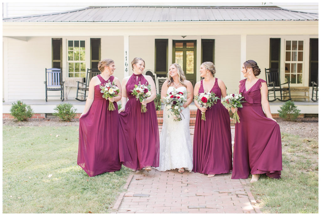fall wedding theme wine colored bridemaids dresses